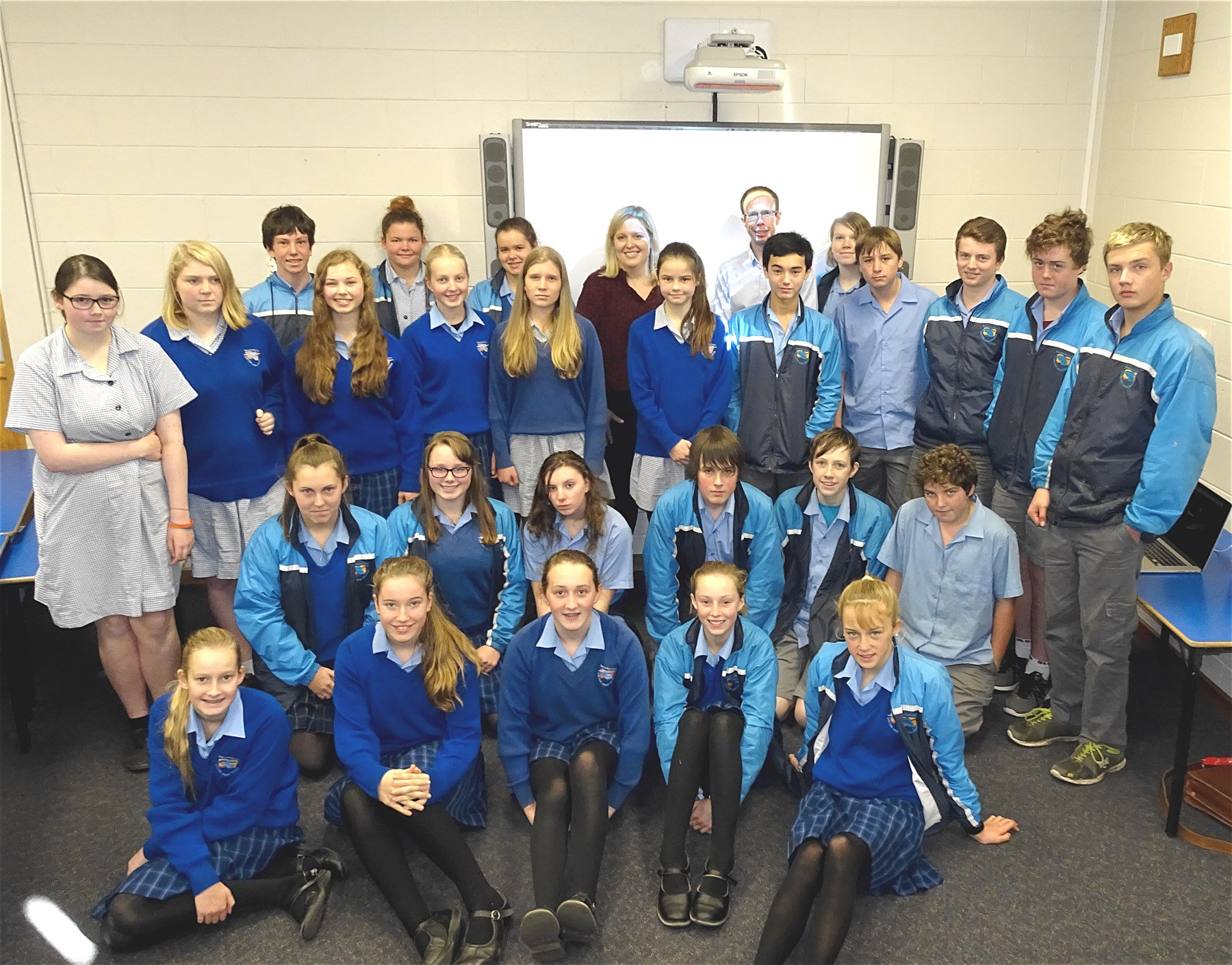 A class of high school students from Exeter High School in Tasmania