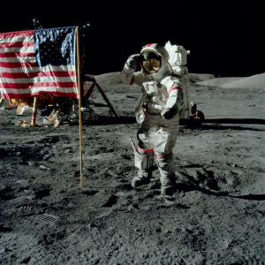 Astronaut Gene Cernan standing on the surface of the Moon in December 1972.