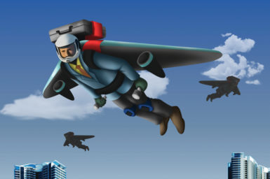 An illustration of a person flying with a jet pack