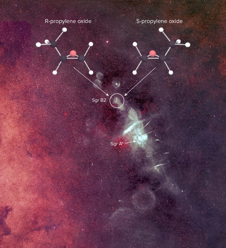 Scientists applaud the first detection of a 'handed' molecule, (propylene oxide) in interstellar space. © B. Saxton, NRAO/AUI/NSF from data provided by N.E. Kassim, Naval Research Laboratory, Sloan Digital Sky Survey.