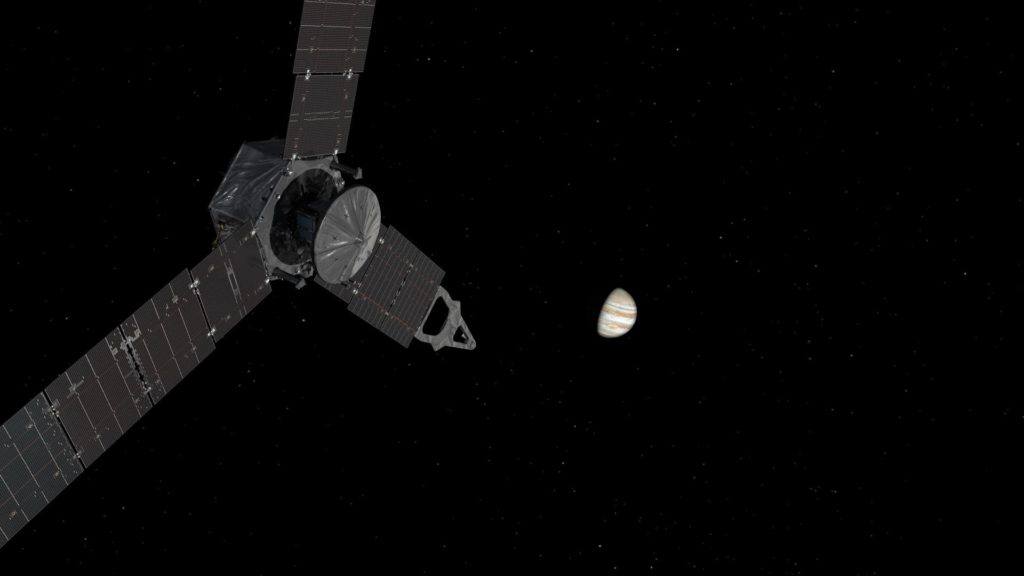 NASA's Juno spacecraft approaching Jupiter.