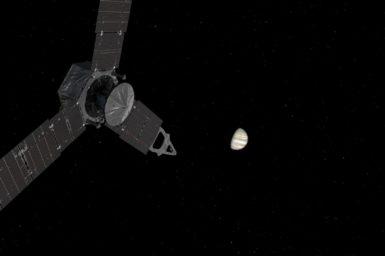 NASA's Juno spacecraft approaching Jupiter.
