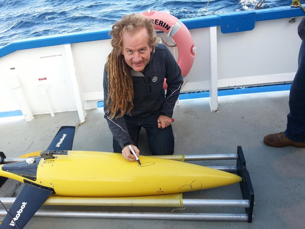 Ocean glider recovered after South Australian mission shows evidence of shark bite. Image Credit - Dennis Stanley, UWA.