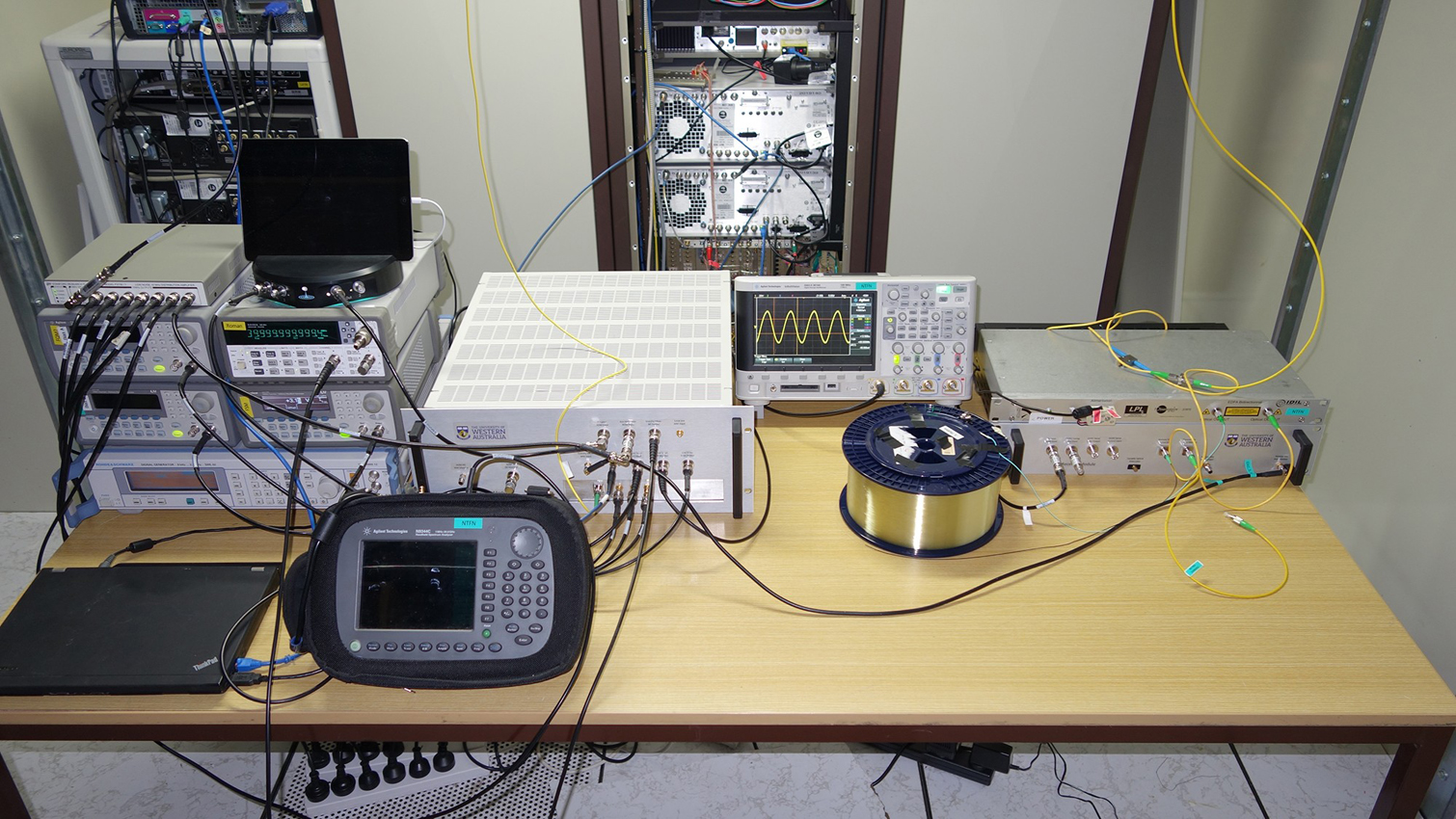 Not exactly the type of clock you'd put on your bedside table, this is UWA's prototype SKA frequency synchronisation system alongside ancillary equipment deployed in the ATCA's correlator room. Credit Sascha Schediwy.