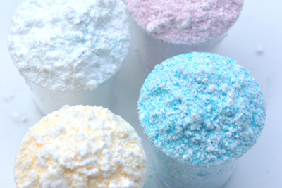 Cups of coloured sherbet powder