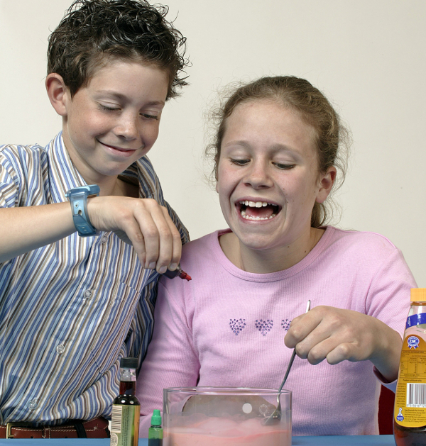 Children conducting 'home' science experiment