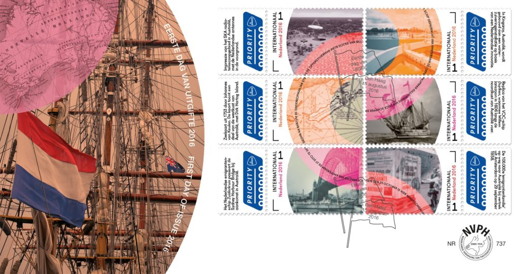 The new stamp sheet from The Netherlands and Beyond series focuses on the unique and centuries-long relationship between the Netherlands and Australia. Credit: PostNL