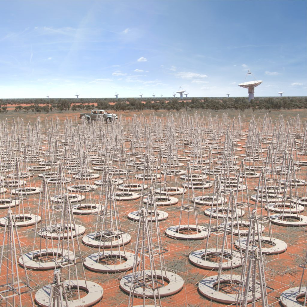 An artists impression of the Australian SKA LFAA (Low Frequency Aperture Array) instrument. These dipole antenna which will number in their hundreds of thousands, will survey the radio sky in frequencies as low at 50Mhz. Image credit: SKA Organisation