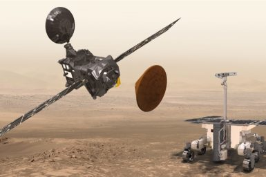 Artist's impression of the Trace Gas Orbiter, Schiaparelli and the ExoMars rover at Mars. Image credit – ESA