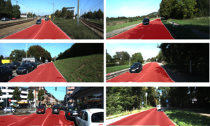 Six scenes of a road from a car, where everything but cars are classified as red