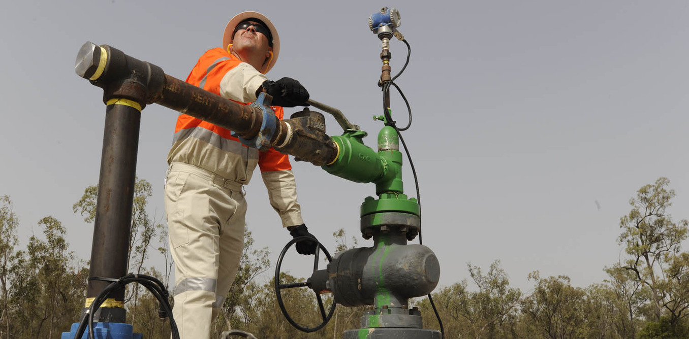 A supplied undated image made available on Wednesday, Nov. 3, 2010 of a QGC coal seam gas well head near Chinchilla, central Queensland. (AAP Image/QGC Australia, Simon Townsley) NO ARCHIVING, EDITORIAL USE ONLY