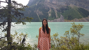 Brianna visiting a beautiful national park in Canada