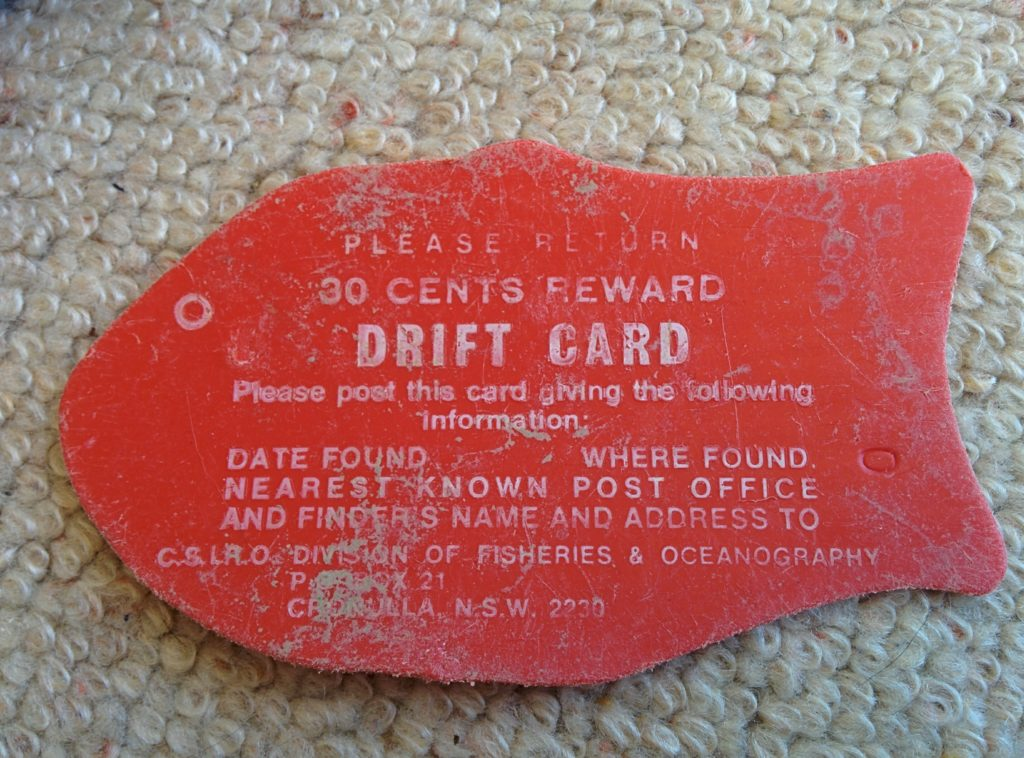Our drift cards were used to calculate and model ocean currents around Australia and other parts of the world. Image -