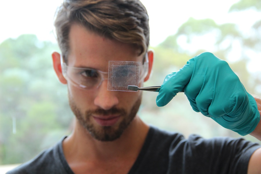 Real superheros use graphene. – CSIRO scientist holding up graphene.