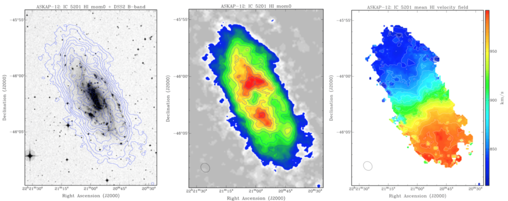 Neutral hydrogen gas in one of the galaxies, IC 5201 in the southern constellation of Grus (The Crane), imaged in early observations for the WALLABY project. Matthew Whiting, Karen Lee-Waddell and Bärbel Koribalski (all CSIRO); WALLABY team, Author provided
