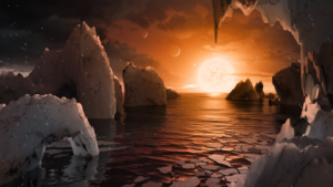 An illustrive visualisation showing water, rocky caves and a setting sun