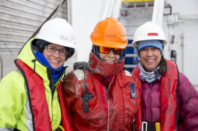 Alix, Leanne and Amy (left to right) after dismantling the piston corer