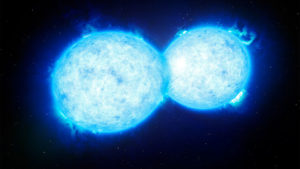 two bight stars coliding on a black background