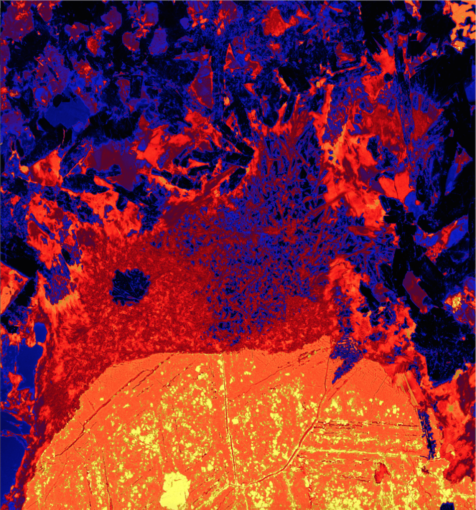 This x-ray image shows a sulfide blob and what remains of an attached gas bubble, frozen in ore. Iron concentration is represented from low to high by the colours black through to yellow/white. Data collected on the XFM beamline at the Australian Synchrotron, Victoria, Australia.