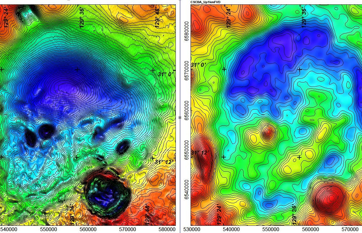 Contour map showing Coompana Anomaly as deep blue/low magnetic signal against backdrop of red/higher magnetic signal.