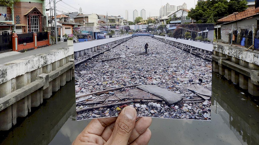 Before and after image of a dirty waterway in Indonesia
