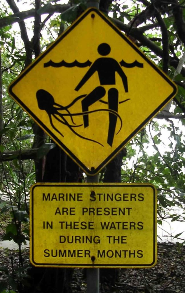 Maybe re-think your dip in the ocean if you come across this sign. Image - TydeNet/Wikipedia