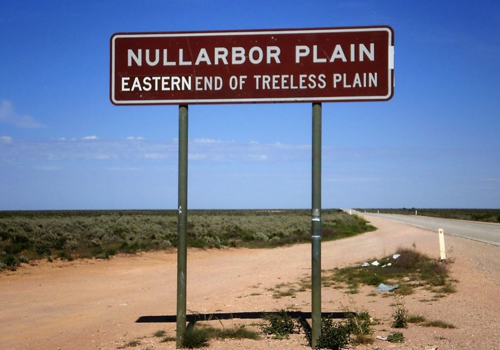 Road sign saying Nullarbor Plain, Eastern End of Treeless Plain
