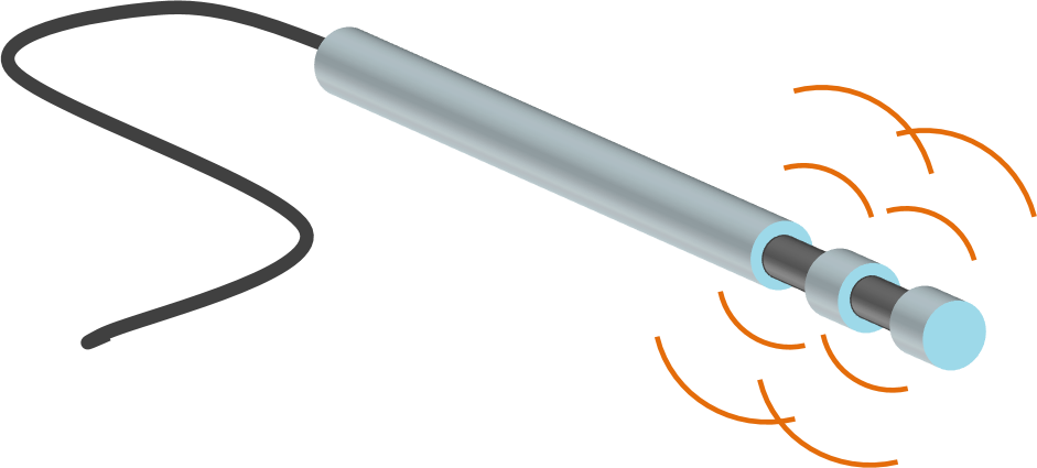 A micro electrode: the black carbon fibre core is coated in an insulating diamond sheath. The waves represent electrical impulses.