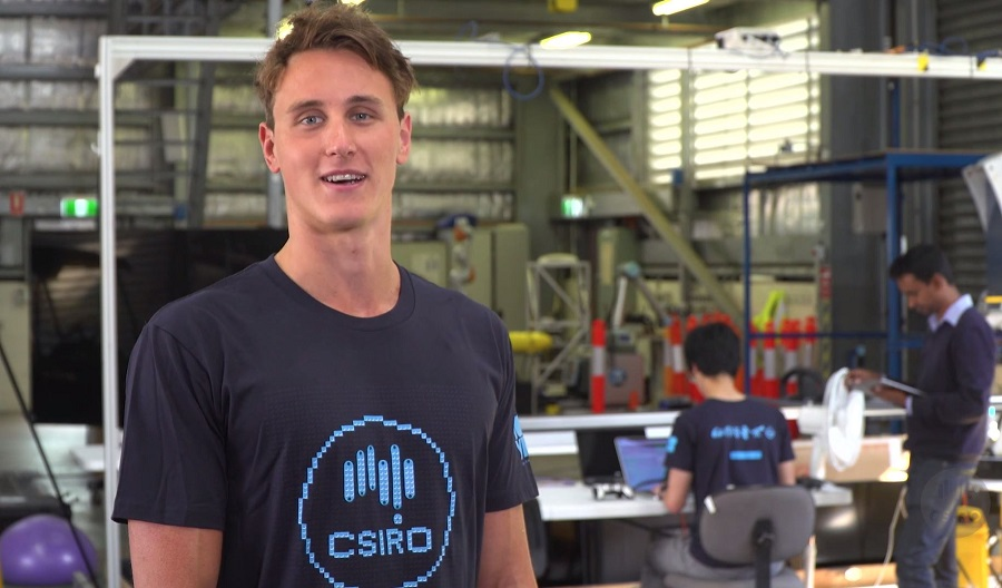 Cam McEvoy at CSIRO's 'robot factory'