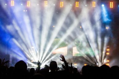 A concert stage with lights and speakers
