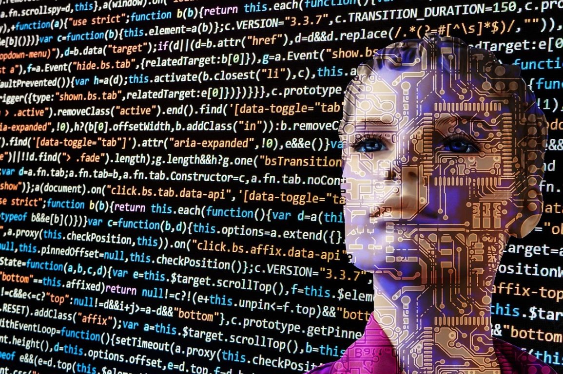 A human-looking robot behind graphics of computer code