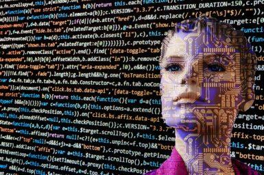 A human-looking robot behind graphics of computer code