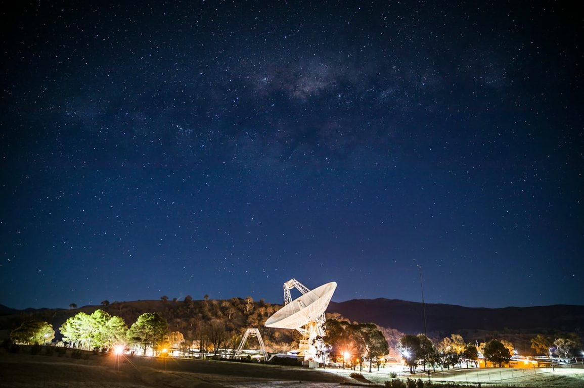 A photo of the Deep Space communication complex at night