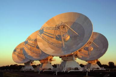 Four of the six antennas of the Australia Telescope Compact Array.