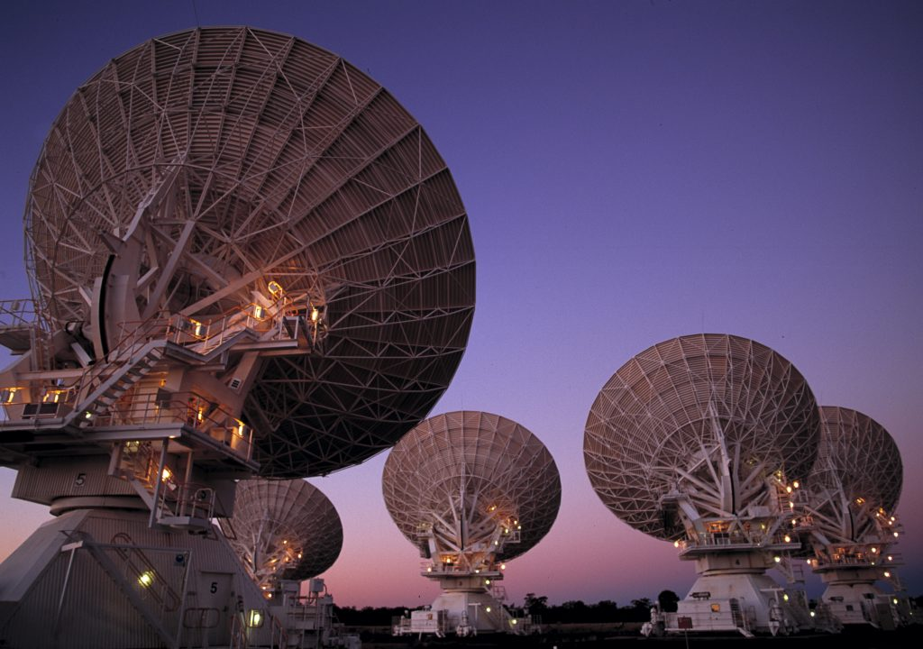 Our Australia Telescope Compact Array at Narrabri, NSW - Searching the heavens at dusk.