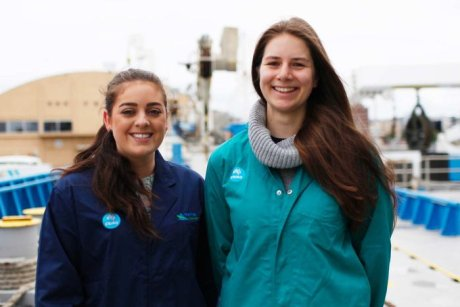 UTAS students Sheridan Barrett and Alice Wanders at the dolphin dissection