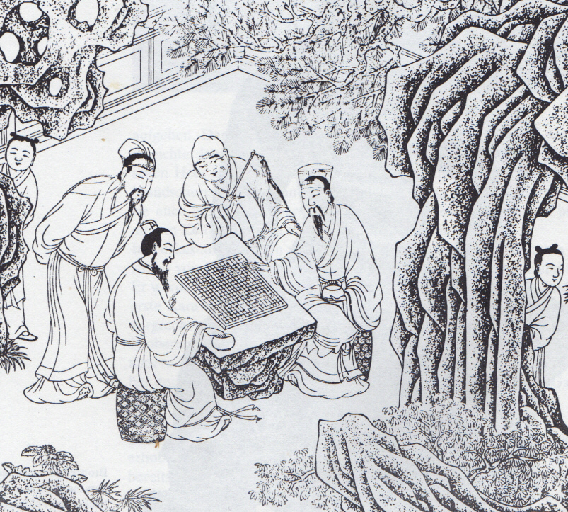 Ancient drawing of people playing Go