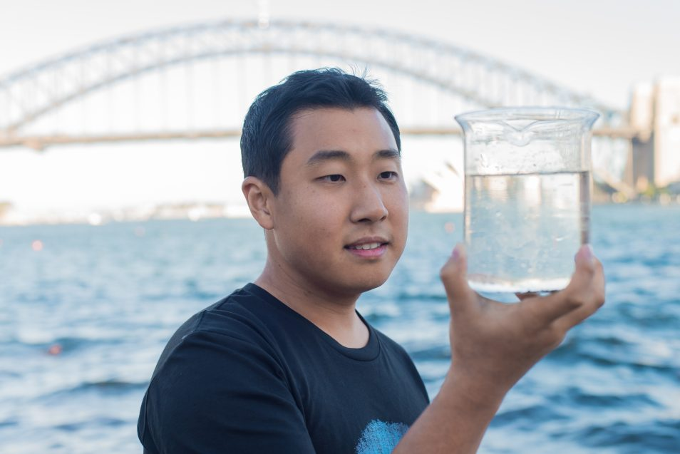 Dr Michael Seo with water from Sydney habour