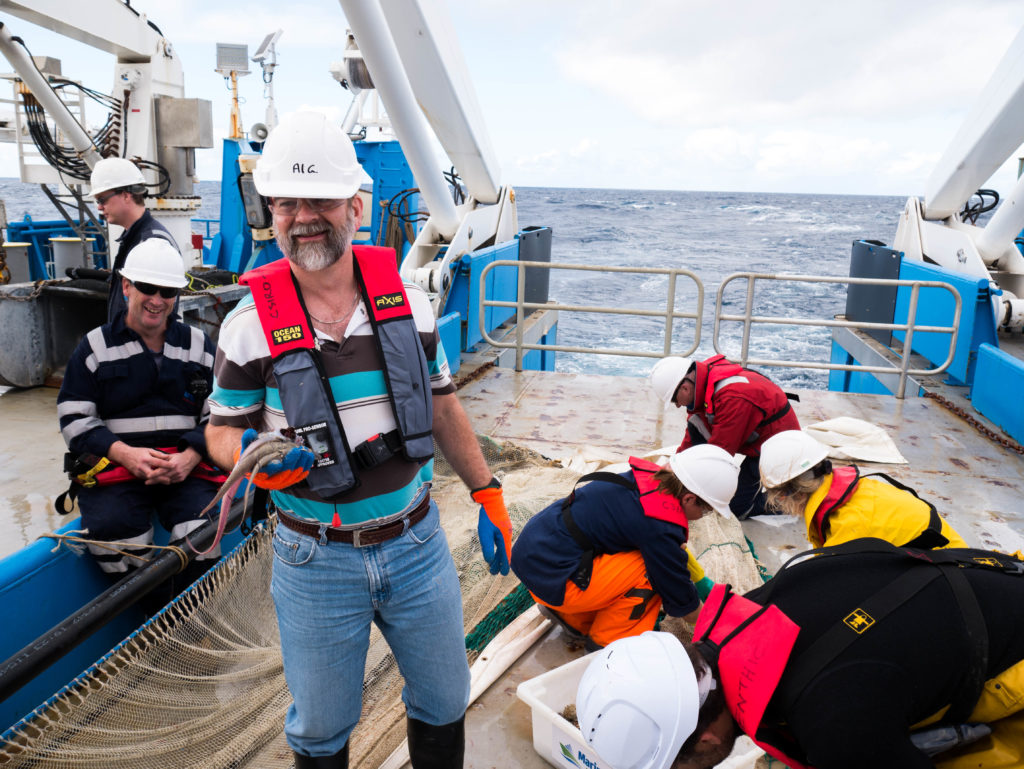 During Investigator's Sampling the Abyss voyage, Al Graham had his hands full with rare and unusual fishes from the deep. Photo Asher Flatt/Marine National Facility.