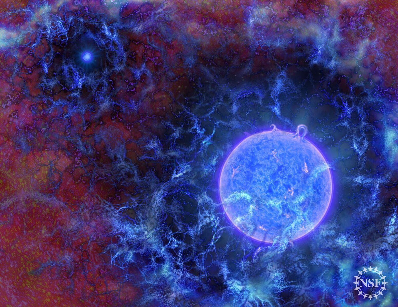 Artist's rendition of the first stars amid hydrogen gas