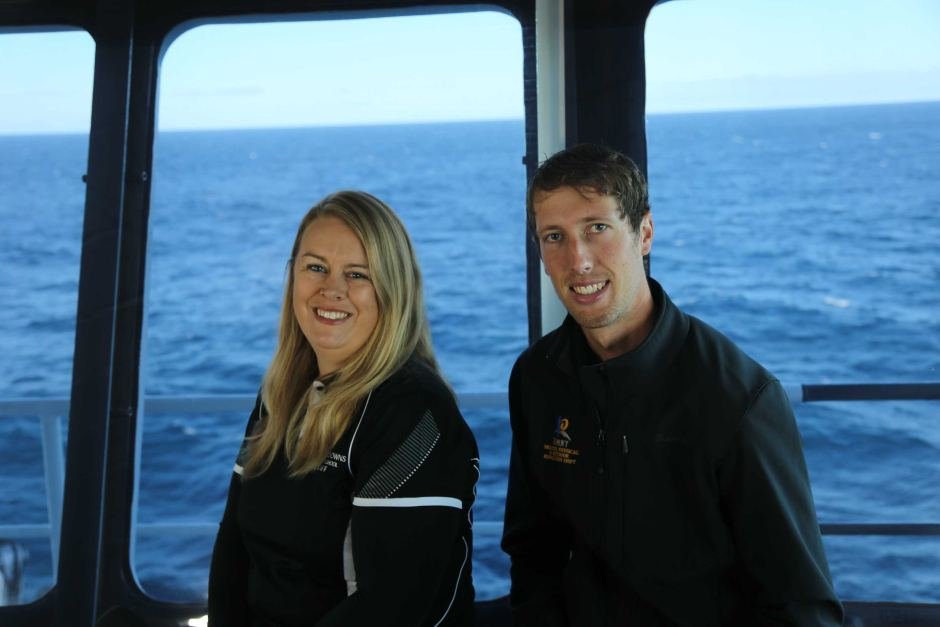 PHOTO: Teachers Christie Evans and Callum Hollingsworth went live with lessons from the RV Investigator. (Supplied: CSIRO)