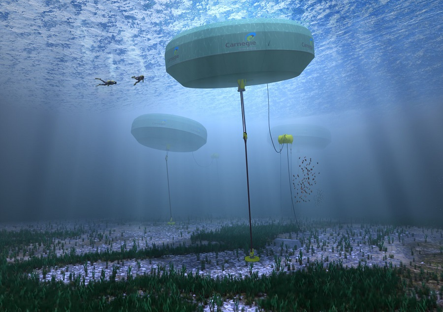 An artist's impression of an underwater scene. Three large round floating structures attached to the bottom by cables, two scuba divers near the surface.