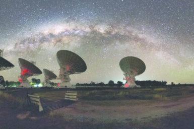 CSIRO's Australia Telescope Compact Array telescope, in Narrabri NSW.