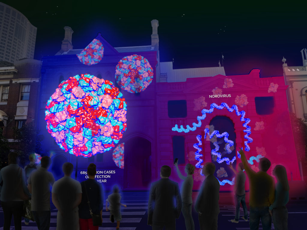 Virus animations beamed onto buildings