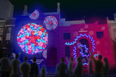 Virus animations beamed onto buildings