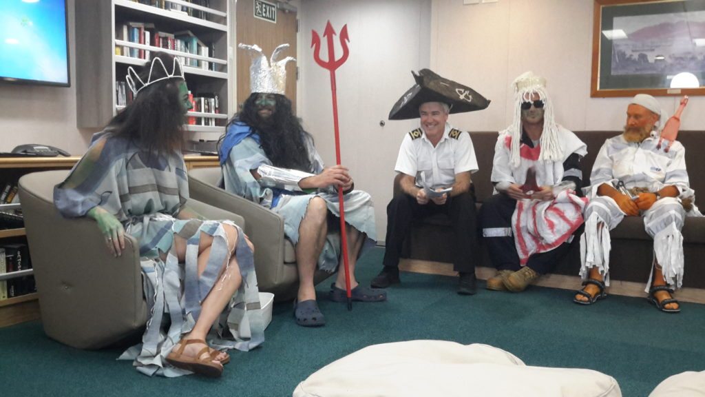 Dress up craziness as the Investigator team celebrate the crossing the line ceremony – complete with King Neptune
