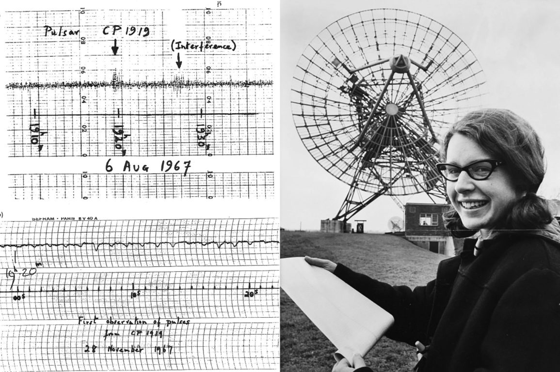 White graph paper with graphs and numbers on the left had side, on the right hand side a young woman wearing glasses holding a roll of paper standing in front of a radio telescope.