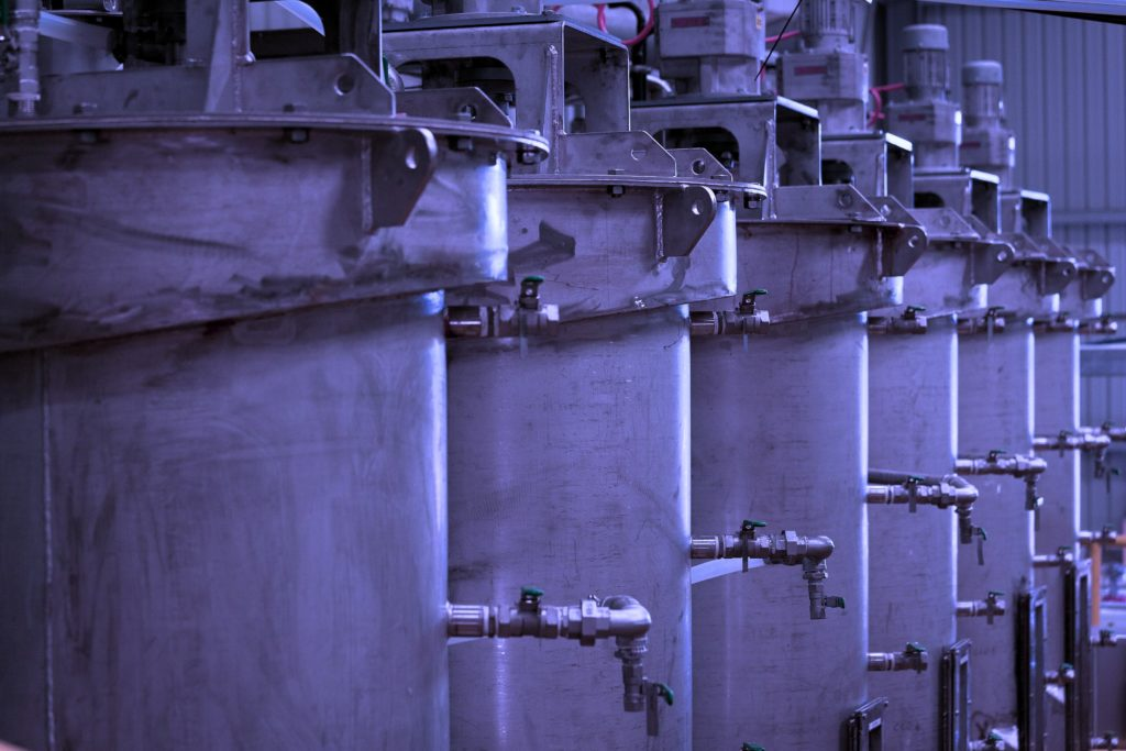 Row of plant mixing tanks