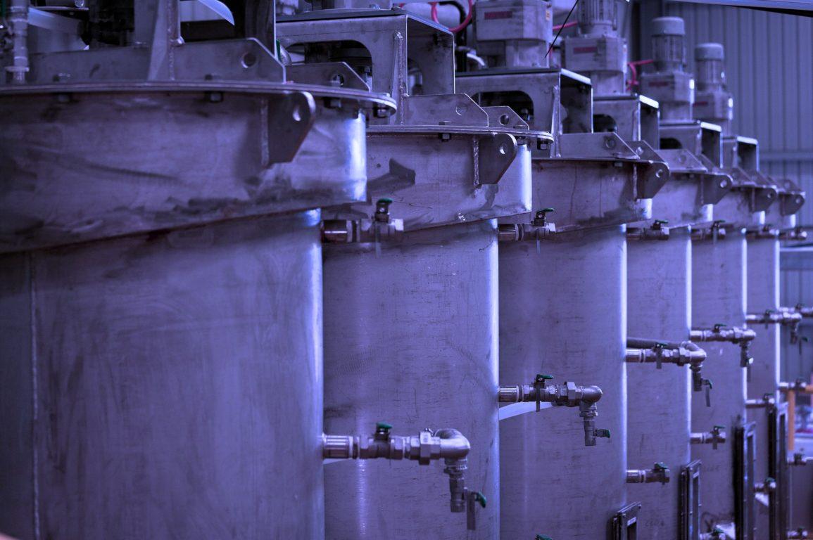 Row of plant mixing tanks
