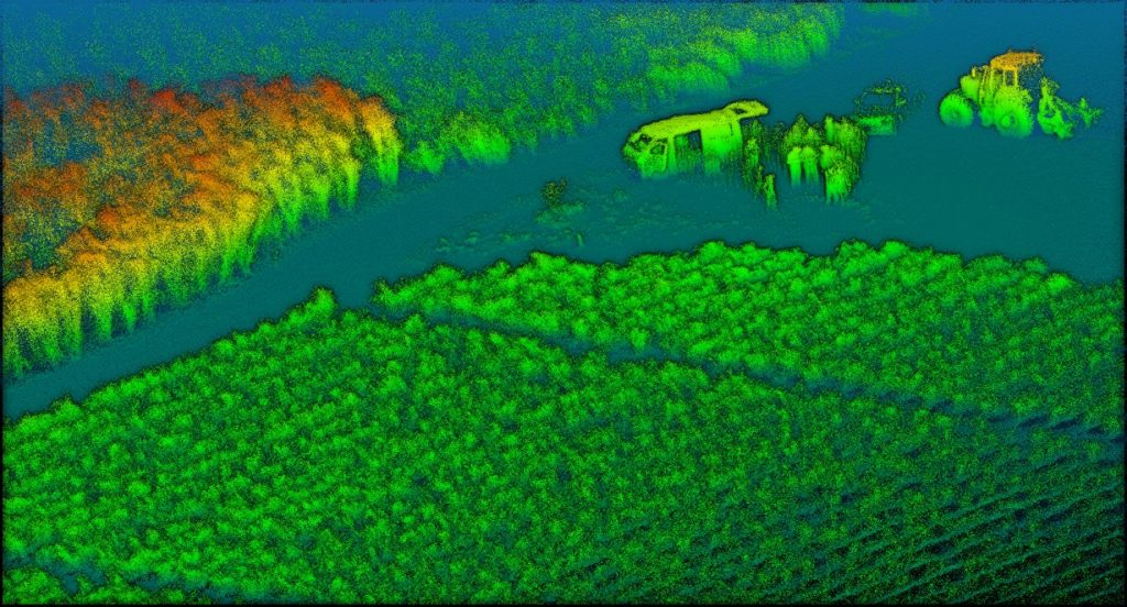 See what the LiDAR sees: sugarcane fields surround a group of farmers in Tully, Qld